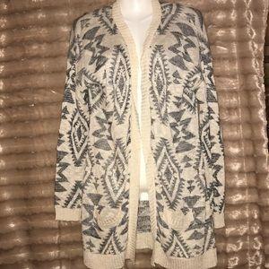 Beautiful boho style Aztec pattern knit cardigan